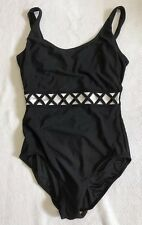 Ladies One Piece Tank Style Swimsuit With Crisscross Detail Sz 12 By It Figures