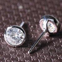2.00Ct Round Brilliant Cut Moissanite Bezel Stud Earrings Solid 14k White Gold