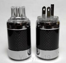 Vanguard Carbon Fiber CRYO Rhodium Plated IEC C13 US Mains Plug Female Connector