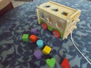 Wooden Toy Block bus Children kids