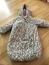 Carters Girls One Peice Bunting Suit Carseat Infants Gray White Pink Faux Fur Mi