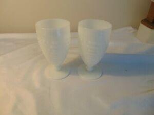 THREE Anchor Hocking Milk Glass Hobnail Ladder Footed Glass Goblet 12 Oz