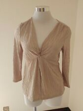 NY Collections Petite Womens Shirt Top PM 3/4 Sleeve Metallic Sparkle Crinkle H