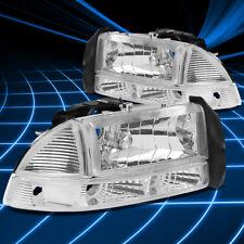 Fit Dodge Dakota Durango 97-04 Euro Chrome Housing Clear Corner/Bumper Headlight