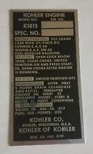 Kohler K181S Engine ID Plate - Brand New!   / Antique Vintage Garden Tractor Tag