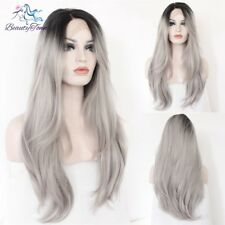 Synthetic Lace Front Wig Gray Color Natural Wavy Hand Tied Fashion Wig For Women