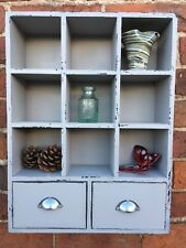Display Unit Pigeon Hole Wall Hanging Shelf Storage Shabby Chic Distressed