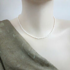 2 mm, Freshwater Pearl Necklace  Natural White Pearl - 40 cm + extension