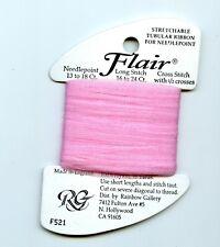 Rainbow Gallery Flair F521 Pale Fuchsia Stretchable Tubular Ribbon Needlepoint
