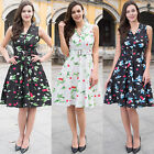 50's Ladies Floral Print Cherry Swing Flared Evening Party Belt Vintage Dresses