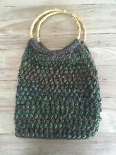 Vintage Boutique Hand Made Bamboo Handle Thick Yarn Knitting Hobo Purse Bag