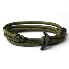 Fashion Men's Gold Black Anchor Polyester Multiple Layers Weave Wrist Bracelet