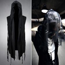 ByTheR Men's Mesh Layered String Dark Gothic Sleeveless Wear Hooded Cardigan CA