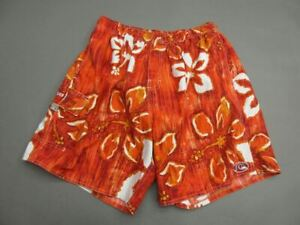 QUIKSILVER SIZE 32 MENS ORANGE FLORAL LINED SWIMMING TRUNKS SHORTS T092