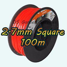 100m of Genuine STIHL 2.7mm SQUARE Brushcutter Strimmer Trimmer Cord Line Wire