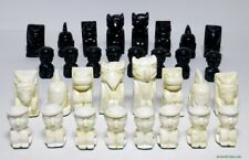 NATIVE AMERICAN DESIGN CHESS MEN - CANADIAN HAIDA TOTEM POLE STYLE SET (854)
