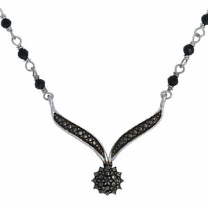 "Silver & Stainless Steel Black Diamond & Onyx Necklace 17 3/4"" - 925 Fancy"