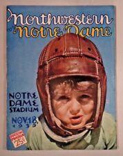1939 Notre Dame vs Northwestern College Football Program EX