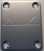 NECK PLATE CUSTOM SHOP - chrome satin gris - pour toute guitare, basse.