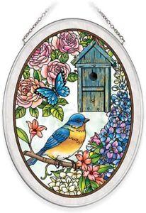 """Amia Birdsong Bluebird Hand-Painted Glass Suncatcher 5-1/4"""" X 7"""" 40035"""