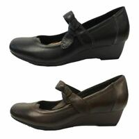 Ladies Leather Earth Spirit Gainsville Slip on Wedges Court Shoes Heels
