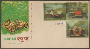 AOP Bhutan 1971 Automobiles vintage cars 3D stamps 3v on FDC First Day cover