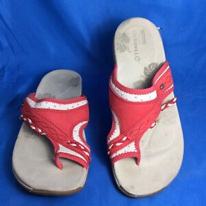 Merrell Womens Hollyleaf Thong Sandals Red Leather Toe Ring Slip On 8 M