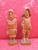 2 vieja Figuras de Madera __ Angler-Paar __