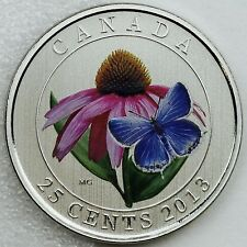 2013 25-cents Purple Coneflower & Eastern Blue-tailed Butterfly Color Specimen