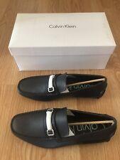 Calvin Klein Mikos Tumbled Leather Navy Dark Blue Mocassins Loafers Slip On 10.5