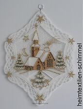 PLAUENER SPITZE ® Fensterbild WINTERDORF Fensterbilder KIRCHE Weihnachten WINTER