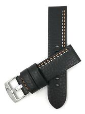 Leather Watch Strap 22mm, Black or Brown w/ White, Red, Yellow, Orange, Blue