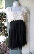 Couture Couture by Juicy Los Angeles Black Cream Silk Chiffon Dress Sz 42 Italy