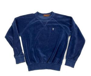 VTG Yves Saint Laurent Sportswear Navy Blue Velour Pullover Sweater Raglan 80s M
