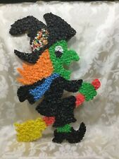 VINTAGE,HALLOWEEN DECOR,POPCORN,MELTED PLASTIC,WITCH w/ BROOM,BLK HAT, 19""