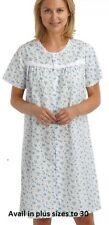 Ladies Short Sleeve blue button through Poly Cotton Nightdress Nightie  12-30