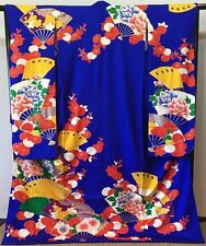 SUPERB Japanese Kakeshita/Wedding Kimono Royal Blue Silk 'Embroidery Fan/Peony'
