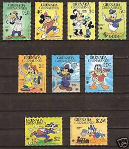 GRENADA Grenadines DISNEY # 350-358 MNH Mickey & Friends in a Variety of Jobs.