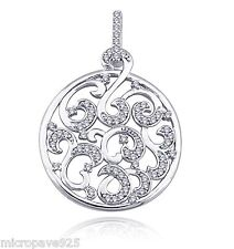 Circle Design Sterling Silver 925 Pendant With Top Micro Pave Set Cubic Zirconia