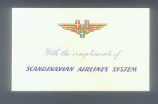 SCANDINAVIAN AIRLINE SYSTEMS ( SAS ) WITH COMPLIMENTS CARD EARLY 1950's HI GRADE