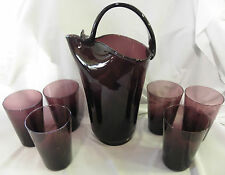 Gorgeous Vintage Retro Amethyst Pitcher With 6 Matching Tumbler Glasses