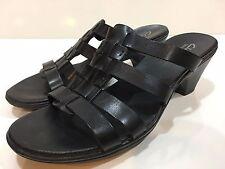 Clarks Bendables Women's Black Leather Wedges Sandals Shoes Size 9 M