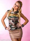 Top Donna T-Shirt Stile Militare Canotta Maglietta Camouflage C032 Tg S/M M/L