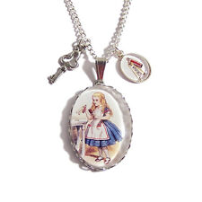 ALICE in wonderland necklace DRINK ME pendant charm bottle cheshire cat mad here
