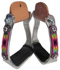 Showman Aluminum Stirrups w/ HOT PINK Beaded Navajo Design & Rhinestones Conchos