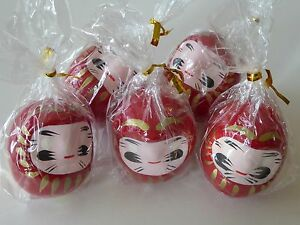 "5 Pieces Red Daruma 2""Tall Wish Making Good Luck Doll / Made in Japan"