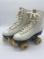 Vintage White Leather Yellow Wheels Roller Derby Roller Skates - Size 6