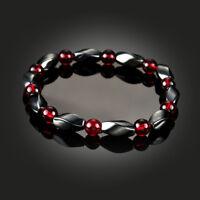 Chakra Hematite Bracelet Healing Magnetic Therapy Stretch Stone Beaded Bangle