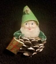 Vintage Pinecone Pixie Elf Gnome Christmas Ornament Holding A Gold Foil Present