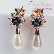 18k Rose Gold Plated Made With Swarovski Pearl Exquisite Sunflower Earrings